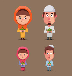 Muslim family holding ketupat ramadan celebration vector