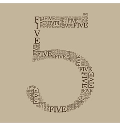 Number five created from text vector