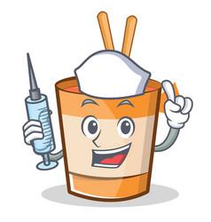 Nurse cup noodles character cartoon vector