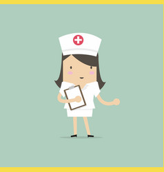 nurse smiling and holding clipboard vector image