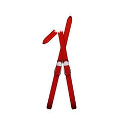 pair old wooden alpine skis in dark red design vector image