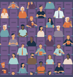 people watching movie in cinema hall vector image