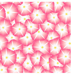 Pink morning glory flower seamless background vector