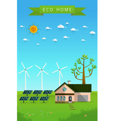 Poster and banner of eco friendly house vector