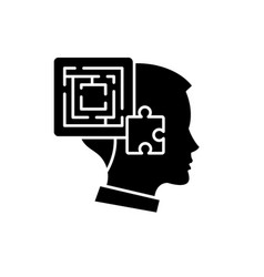 problem solving black icon sign on vector image