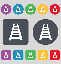 Railway track icon sign A set of 12 colored vector image