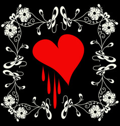 red heart on a black background for your design vector image