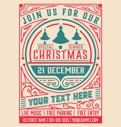 retro christmas party poster holidays flyer vector image
