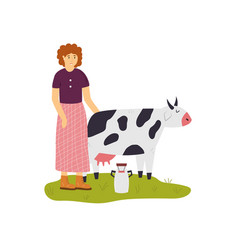 scene with a farmer girl taking care cow vector image