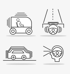 Set futuristic car with modern elements vector