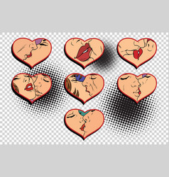Set kissing love isolated background vector