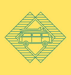 summer travel concept line icon with car van vector image