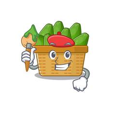 Talented avocado fruit basket artist cartoon vector