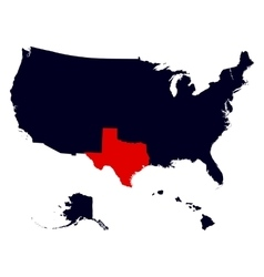 texas state in united states map vector image