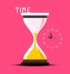 time design with hourglass on pink background vector image
