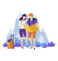 tourism hiking couple with backpacks suitcase and vector image