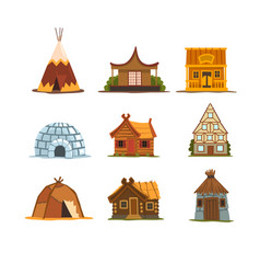 Traditional buildings of different countries set vector