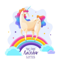 Unicorn on rainbow magic vector