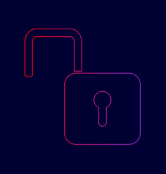 unlock sign line icon with vector image