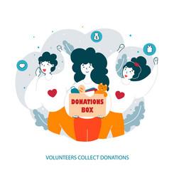 volunteers team collect donations flat vector image