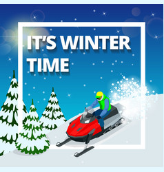 winter background with man on snowmobile its vector image