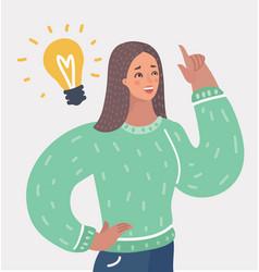 Woman having an idea with light bulb over her head vector