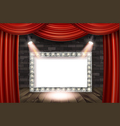 wooden stage with red curtain vector image