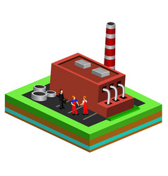 worker controls processes in production isometric vector image