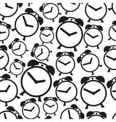 alarm clock black and white icons seamless pattern vector image vector image