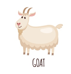 Cute goat in flat style vector image vector image