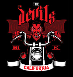 devil rides the motorcycle vector image