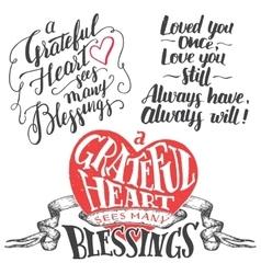 Grateful heart hand lettering set vector image