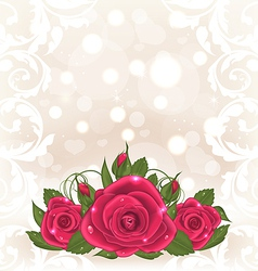 Luxury card with bouquet of pink roses vector image vector image