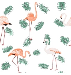 Blue green exotic tropical leaves pink flamingos vector image vector image