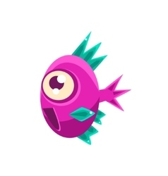 Excited pink fantastic aquarium tropical fish with vector