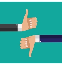 Flat Design Thumbs Up and Down Background vector image