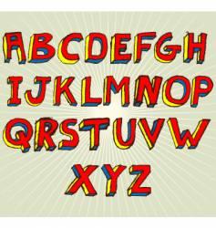 grunge 3d alphabet vector image