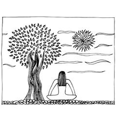 Hand-drawn of yoga life harmony vector image vector image