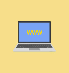 laptop flat style with abbreviation www on screen vector image
