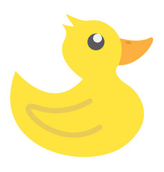 Rubber duck flat icon baby toy and shower vector