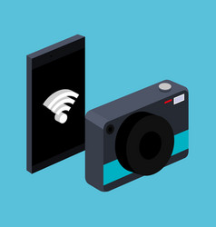 smarthpone with photo camera wifi connection vector image vector image