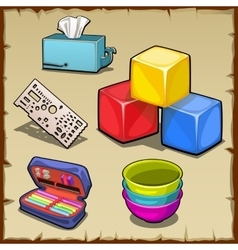 Colorful cube set and tools of the first grader vector image