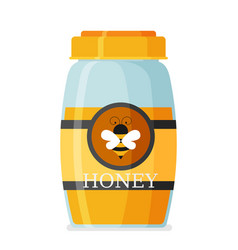 glass mason jar of honey in modern flat vector image vector image