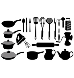 kitchen tools collage vector image vector image
