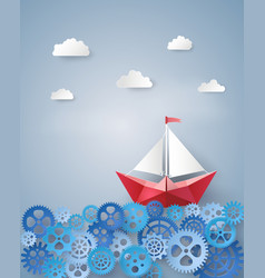 Leadership concept with paper sailing boat float vector