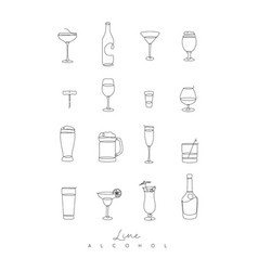 pen line alcohol icons vector image