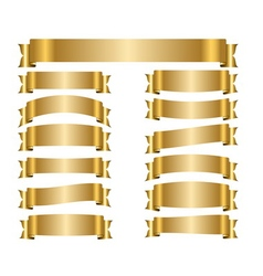 Ribbon gold banners set vector image vector image
