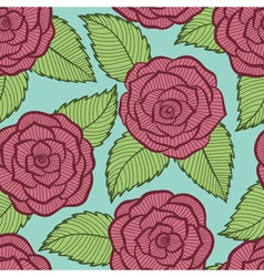 seamless pattern in roses and leaves lace vector image
