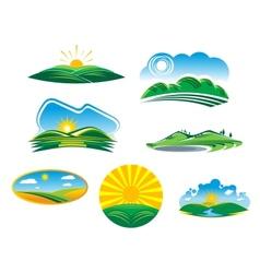 Set of sunny summer landscapes vector image