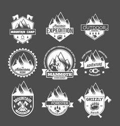set of vintage mountain explorer labels vector image